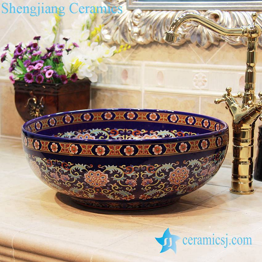 YL-OT_1755 YL-OT_1755 Morocco style round deep blue famille rose wall hung sink - shengjiang  ceramic  factory   porcelain art hand basin wash sink