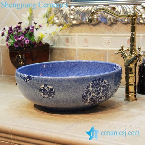 YL-OT_1762 Small round blue ceramic wash finger counter top sanitary ware