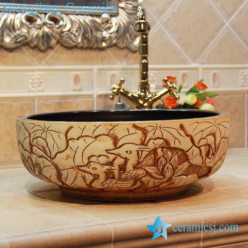 YL-OT_1863 Lotus carving design portable ceramic bathtub for ...