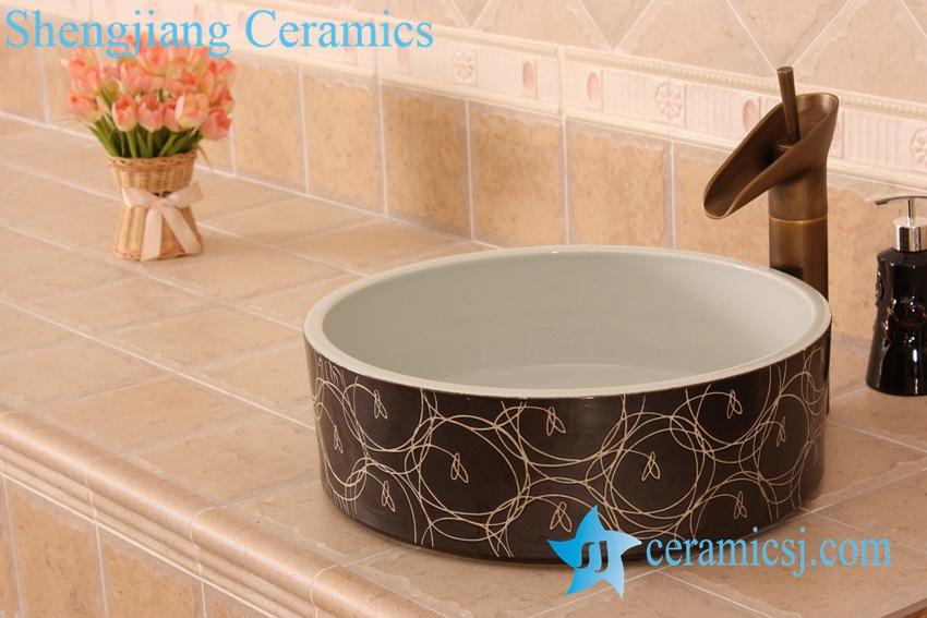 YL-O_5498 YL-O_5498 Black Ceramic basin for clothes washing - shengjiang  ceramic  factory   porcelain art hand basin wash sink
