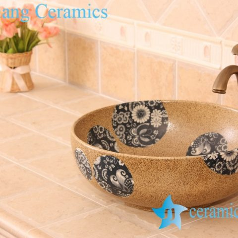 YL-O_5738 Bathroom round sink porcelain material