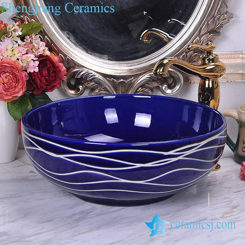 YL-O_8746 YL-O_8746 Low price dark blue china ware hand wash basin - shengjiang  ceramic  factory   porcelain art hand basin wash sink