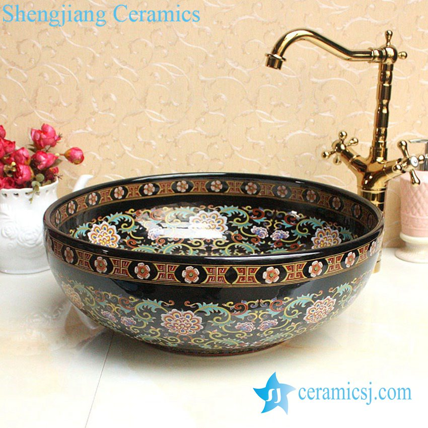 YL-P_2665 YL-P_2688 Fancy lord palace style ceramic cupboard bath wash basin - shengjiang  ceramic  factory   porcelain art hand basin wash sink