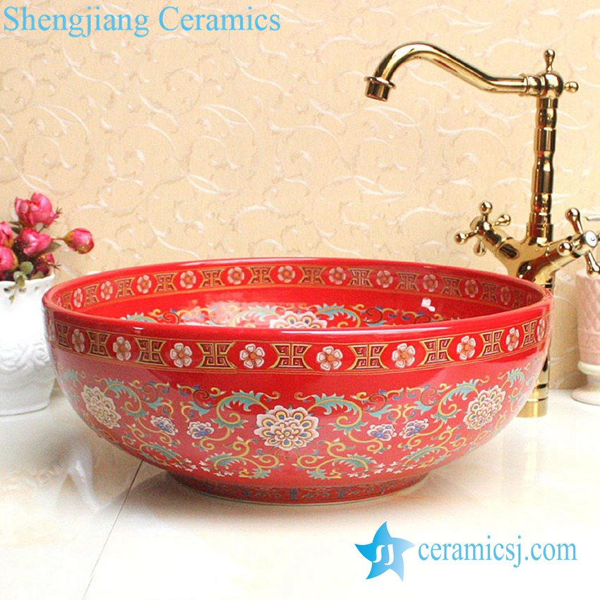 YL-P_2679 YL-P_2688 Fancy lord palace style ceramic cupboard bath wash basin - shengjiang  ceramic  factory   porcelain art hand basin wash sink