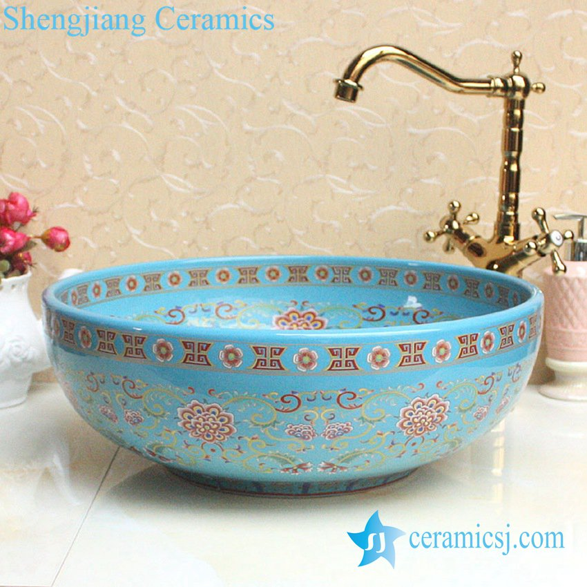 YL-P_2688 YL-P_2688 Fancy lord palace style ceramic cupboard bath wash basin - shengjiang  ceramic  factory   porcelain art hand basin wash sink