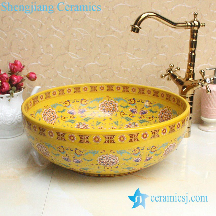 YL-P_2694 YL-P_2688 Fancy lord palace style ceramic cupboard bath wash basin - shengjiang  ceramic  factory   porcelain art hand basin wash sink