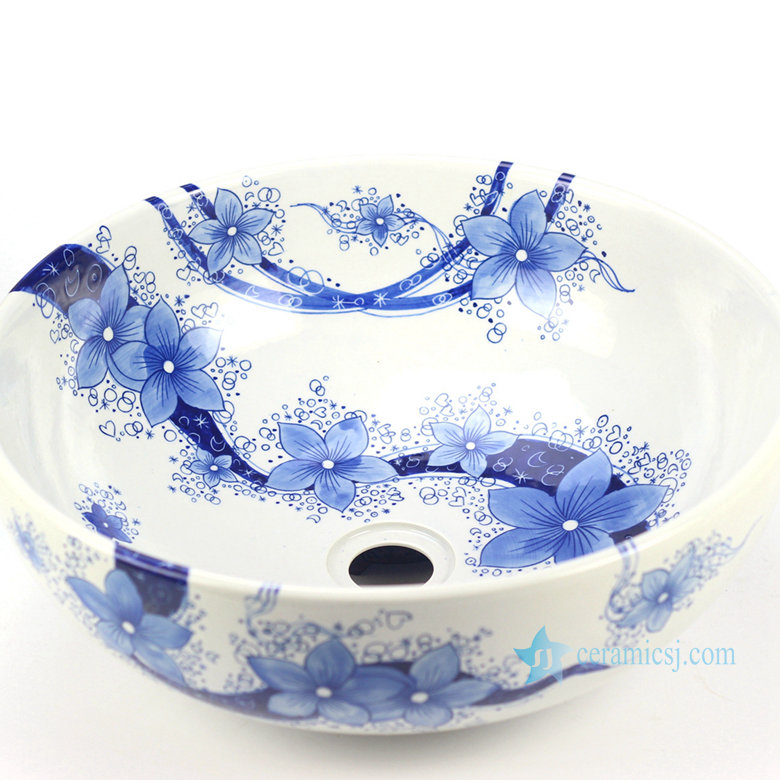 YL-TP_8792H15W41 YL-TP Blue and white floral pattern bathroom ceramic counter top round wash basin sink - shengjiang  ceramic  factory   porcelain art hand basin wash sink