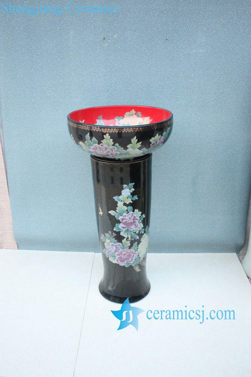 YL-TZ-0005 YL-TZ-0005 Black high heel pedestal porcelain wash basin sink - shengjiang  ceramic  factory   porcelain art hand basin wash sink