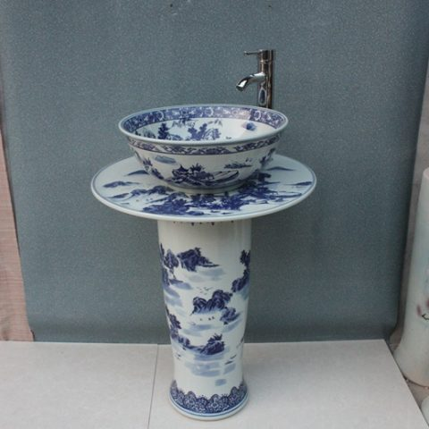 YL-TZ-0007 Landscape blue and white ceramic free standing pedestal wash basin sink basin