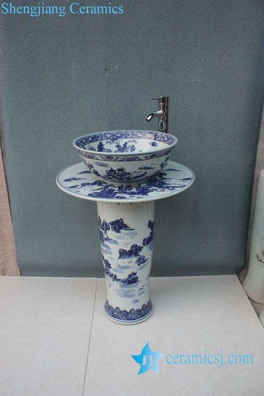 YL-TZ-0007 YL-TZ-0007 Landscape blue and white ceramic free standing pedestal wash basin sink basin - shengjiang  ceramic  factory   porcelain art hand basin wash sink