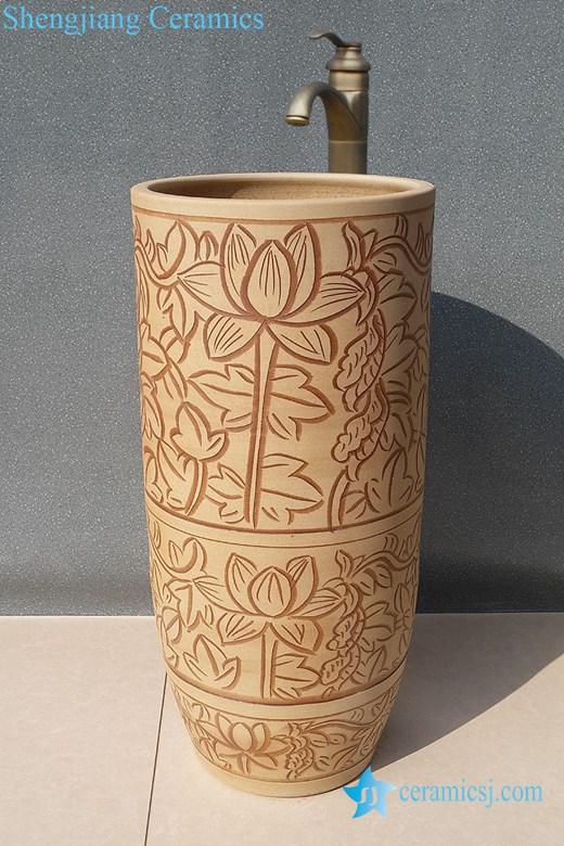 YL-TZ-0026 YL-TZ-0026 Hand engraving lotus flower pattern china ware pedestal sanitary ware - shengjiang  ceramic  factory   porcelain art hand basin wash sink