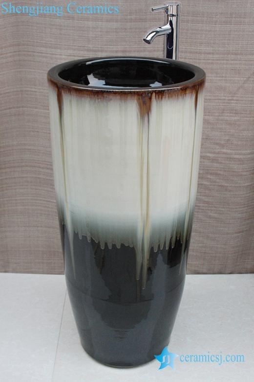 YL-TZ-0031 YL-TZ-0031 Transmutation glazed pedestal ceramic cylinder sink - shengjiang  ceramic  factory   porcelain art hand basin wash sink