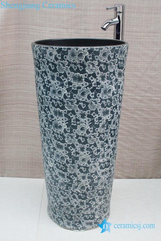 YL-TZ-0036 YL-TZ-0036 Floral pattern high ceramic pedestal colored bathroom sink - shengjiang  ceramic  factory   porcelain art hand basin wash sink