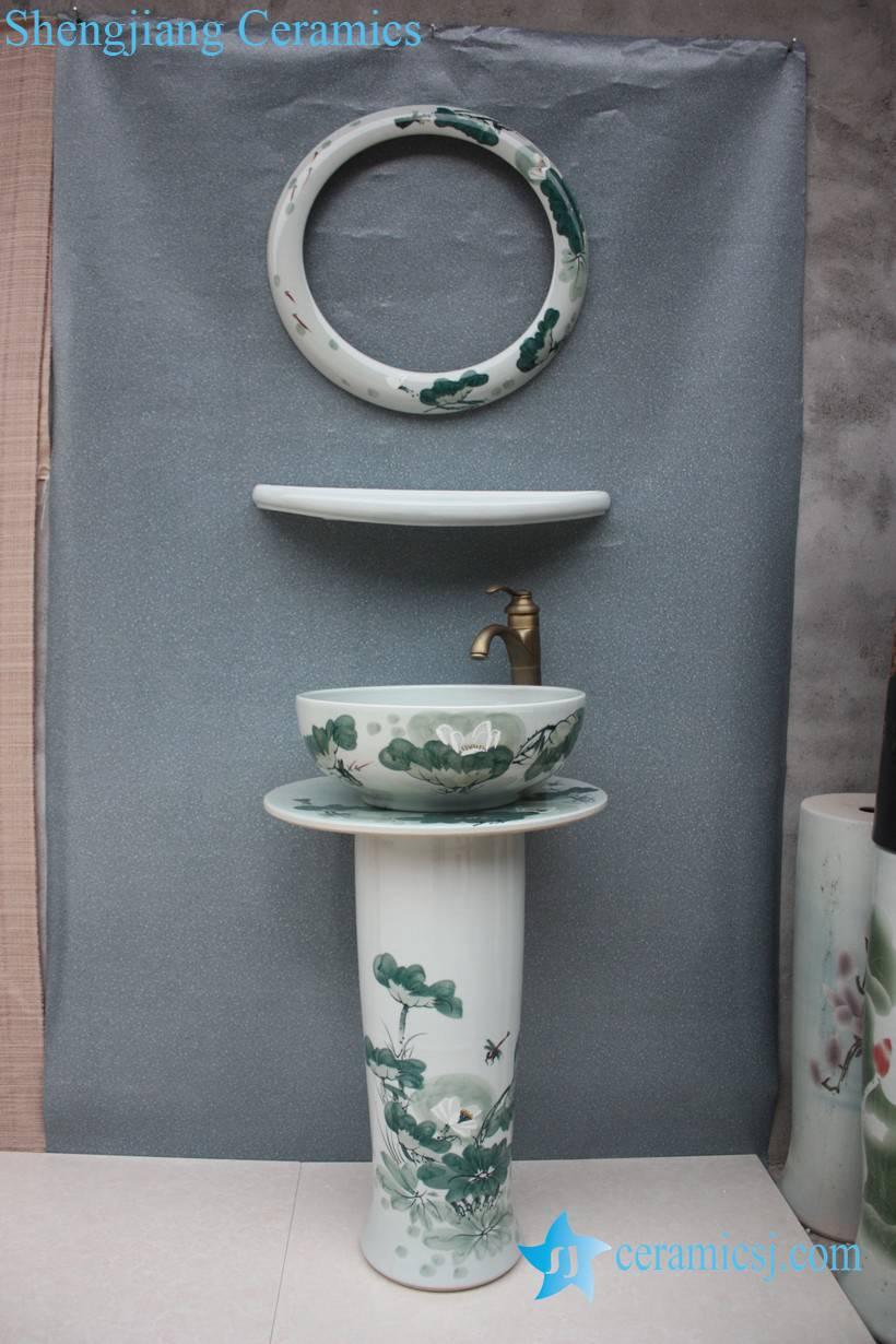 YL-TZ-0043 YL-TZ-0043 Elegant chinese lotus flower painting design ceramic pedestal sink basin bowl with mirror frame and dresser - shengjiang  ceramic  factory   porcelain art hand basin wash sink
