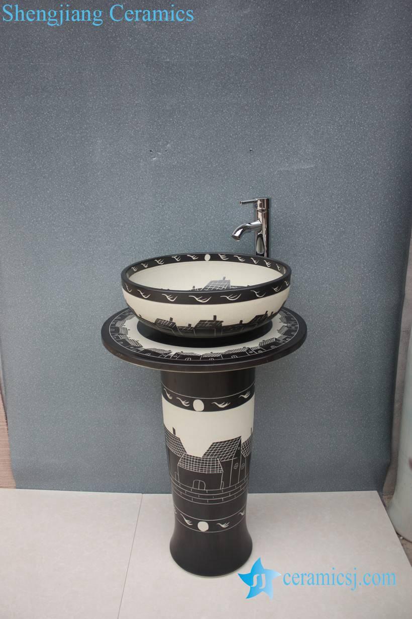 YL-TZ-0047 YL-TZ-0047 Black and white solid color industrial price ceramic wash basins with pedestal - shengjiang  ceramic  factory   porcelain art hand basin wash sink