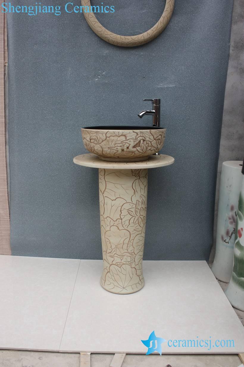 YL-TZ-0053 YL-TZ-0053 Clay ware hand carved pattern black solid color inside contemporary art pedestal basin - shengjiang  ceramic  factory   porcelain art hand basin wash sink