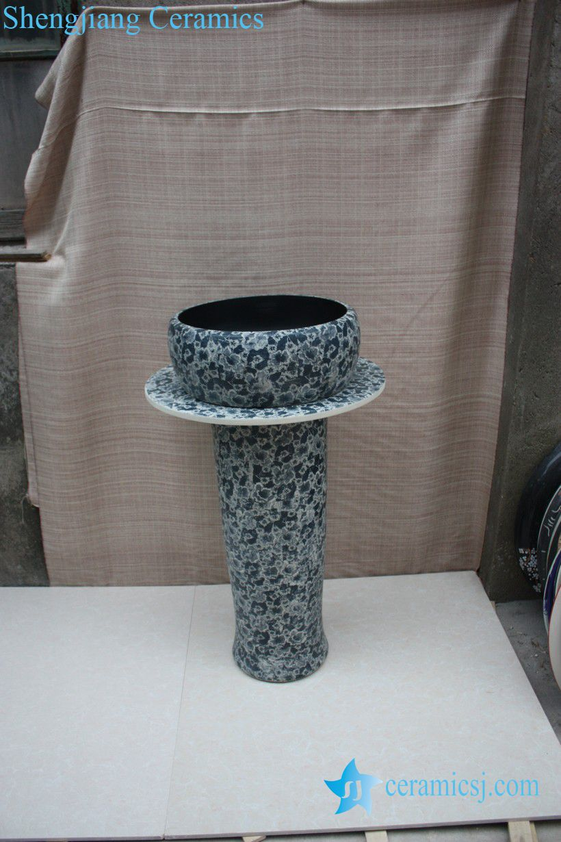 YL-TZ-0059 YL-TZ-0059 Waist drum shape ceramic sink basin with pedestal - shengjiang  ceramic  factory   porcelain art hand basin wash sink