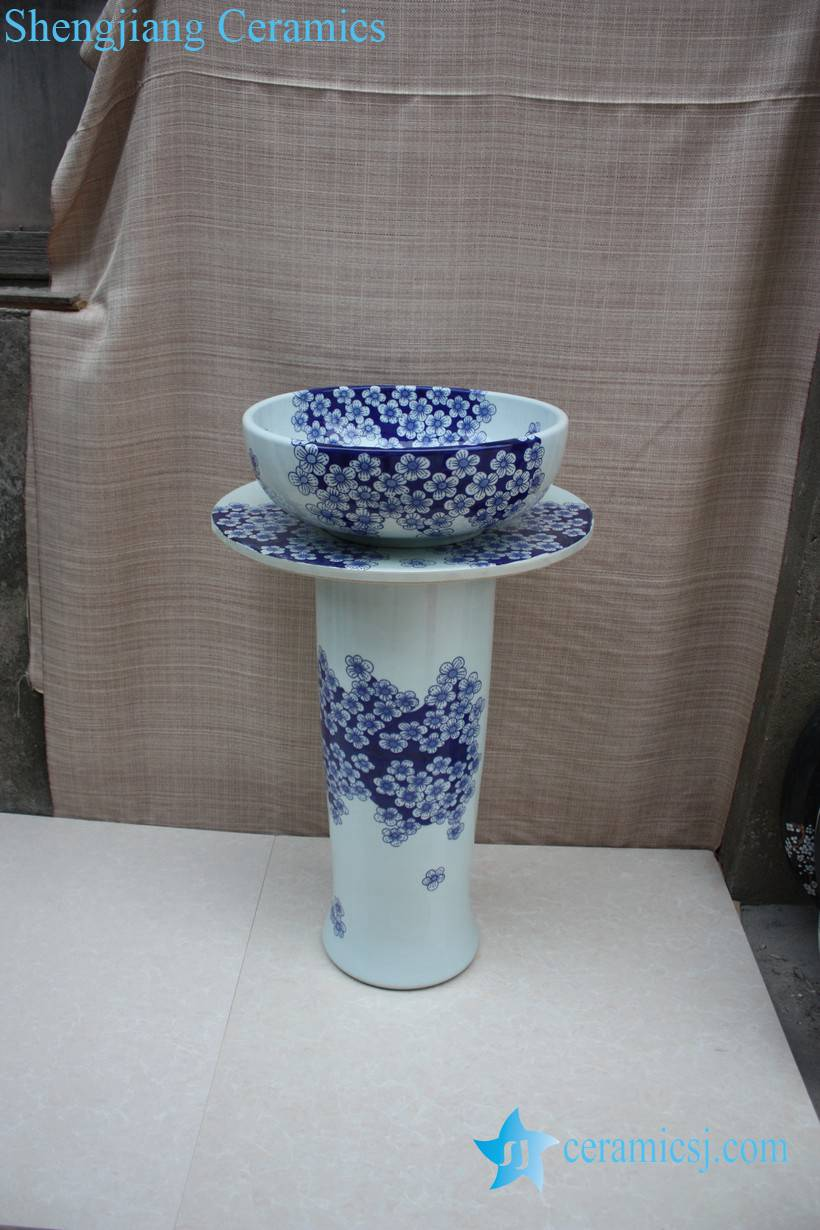 YL-TZ-0061 YL-TZ-0061 Blue and white pedestal bathroom ceramic pedestal laundry sink chinese sink - shengjiang  ceramic  factory   porcelain art hand basin wash sink