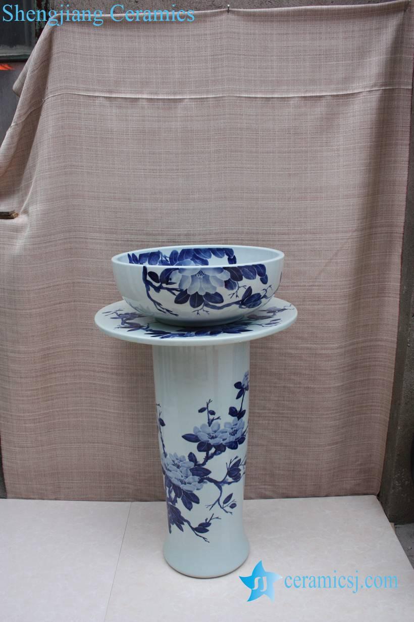 YL-TZ-0066 YL-TZ-0066 Bathroom supplier Blue and white ceramic pedestal sink basin bowl - shengjiang  ceramic  factory   porcelain art hand basin wash sink