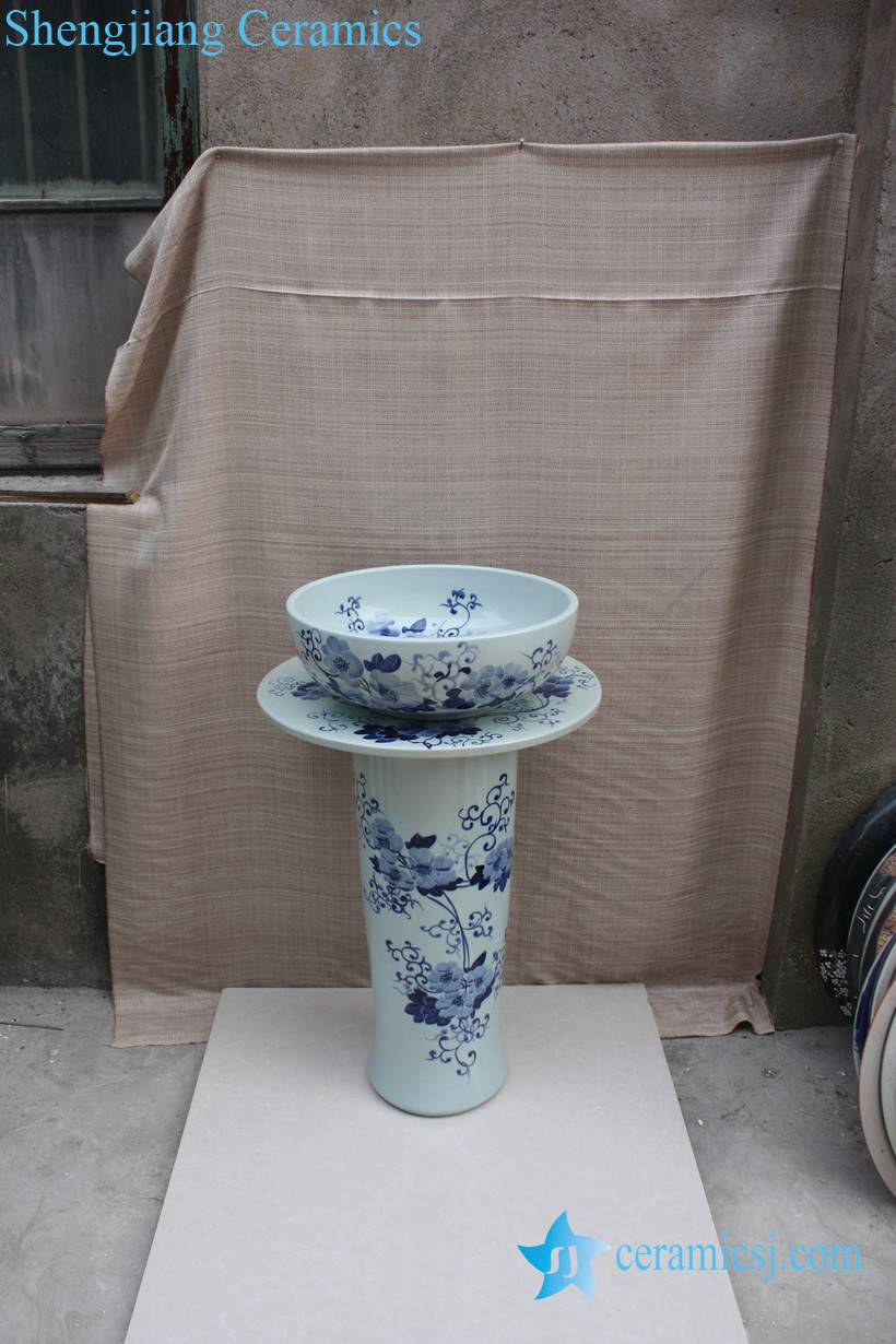 YL-TZ-0068 YL-TZ-0068 Fancy hand painted blue and white ceramic wash basins with pedestal - shengjiang  ceramic  factory   porcelain art hand basin wash sink