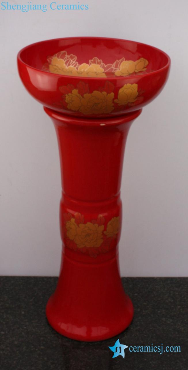 YL-TZ-0074 YL-TZ-0074 Bright red colored and beautiful golden peony flower pattern ceramic pedestal sink basin - shengjiang  ceramic  factory   porcelain art hand basin wash sink