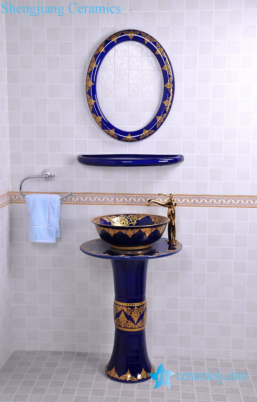 YL-TZ-0076 YL-TZ-0076 Nordic style golden plated blue contemporary art ceramic pedestal sink basin - shengjiang  ceramic  factory   porcelain art hand basin wash sink