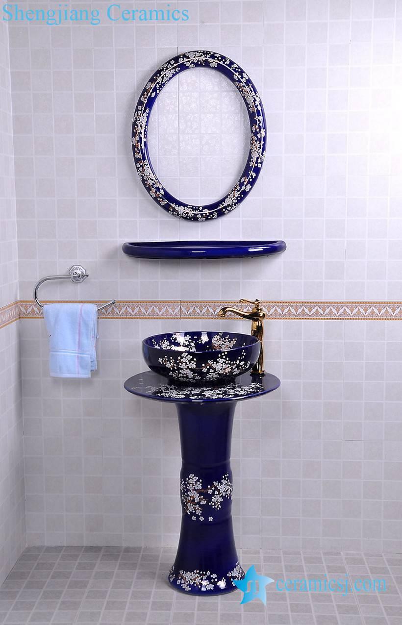 YL-TZ-0077 YL-TZ-0077 Bright blue colored and beautiful plum blossom pattern ceramic pedestal sink basin - shengjiang  ceramic  factory   porcelain art hand basin wash sink