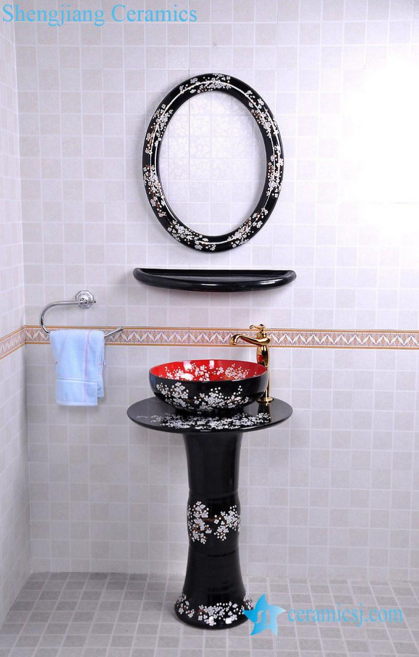 YL-TZ-0079 YL-TZ-0079 Black glazed fancy plum blossom pattern pedestal ceramic sink basin bowl - shengjiang  ceramic  factory   porcelain art hand basin wash sink
