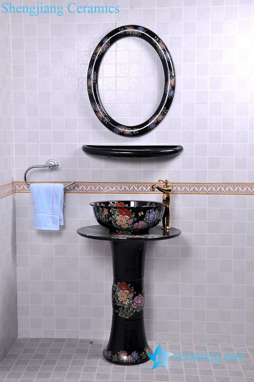YL-TZ-0082 YL-TZ-0082 Bright black colored and beautiful peony flower branch pattern ceramic pedestal sink basin with stand, mirror frame and dresser - shengjiang  ceramic  factory   porcelain art hand basin wash sink