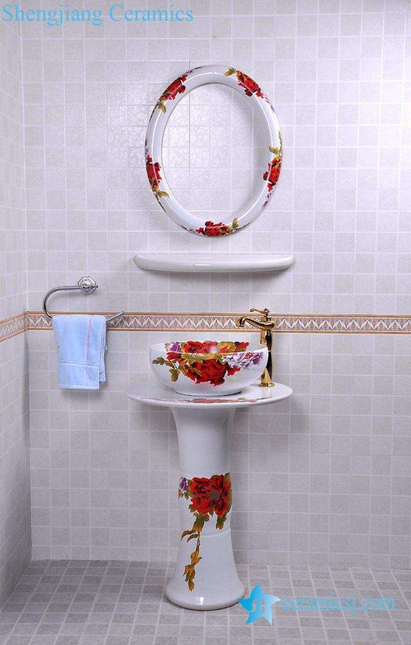 YL-TZ-0084 YL-TZ-0084 High quality ceramic red peony flower pattern white pedestal foot porcelain round sink basin bowl with mirror frame, dresser - shengjiang  ceramic  factory   porcelain art hand basin wash sink