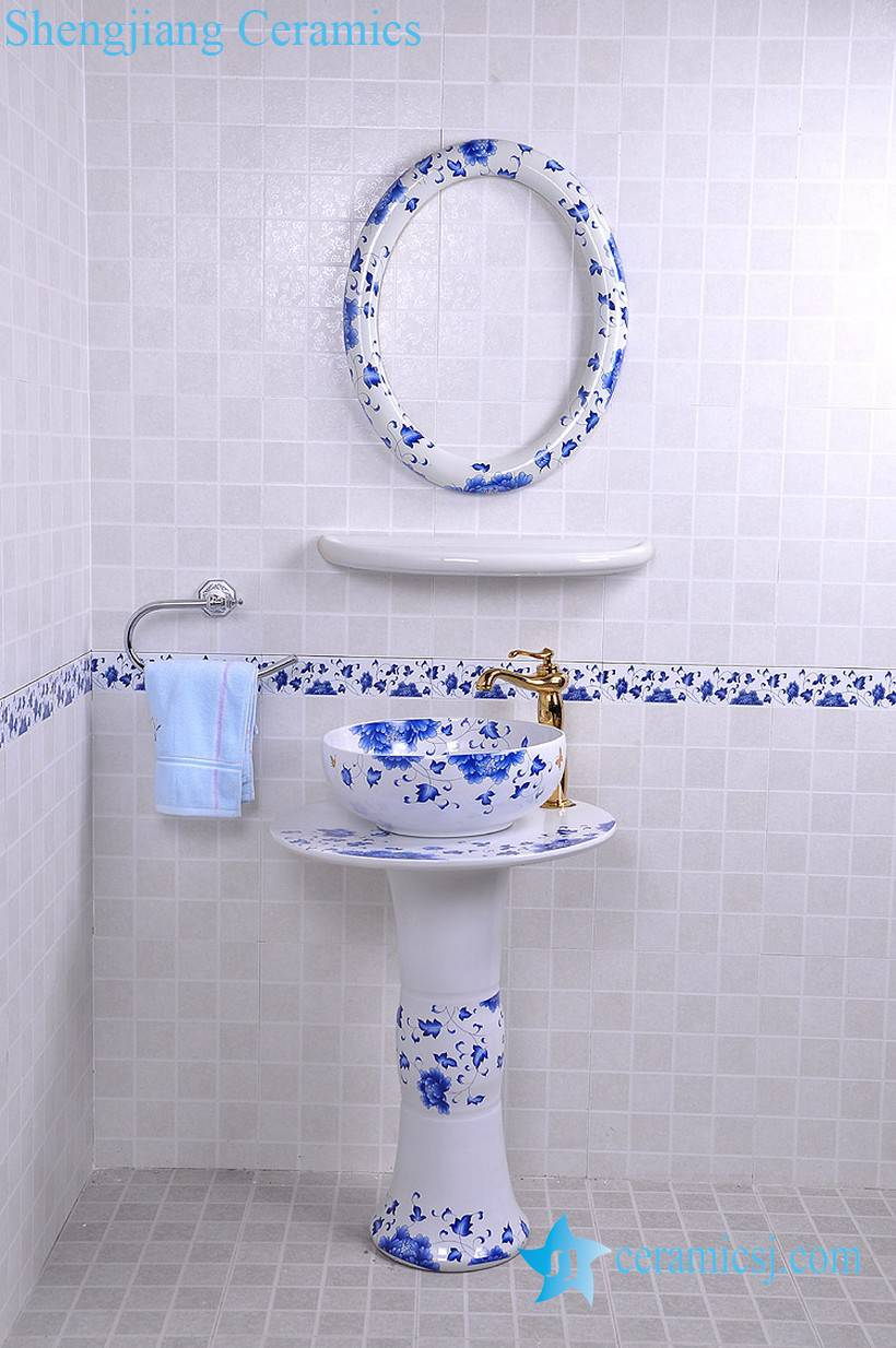 YL-TZ-0085 YL-TZ-0085 Elegant ceramic composite bathroom sink with pedestal foot, mirror frame and dresser - shengjiang  ceramic  factory   porcelain art hand basin wash sink