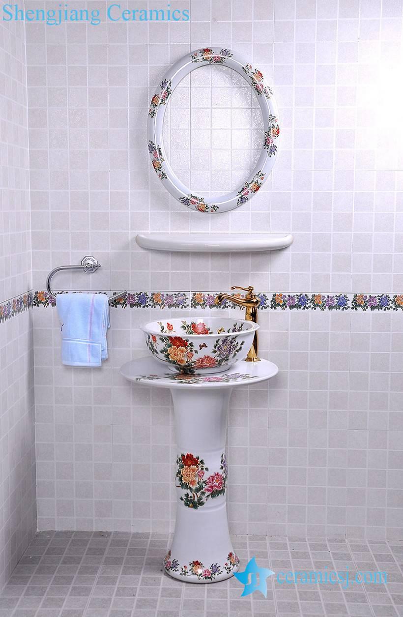 YL-TZ-0086 YL-TZ-0086 High quality ceramic red peony flower pattern white pedestal foot porcelain round sink basin bowl with mirror frame, dresser - shengjiang  ceramic  factory   porcelain art hand basin wash sink