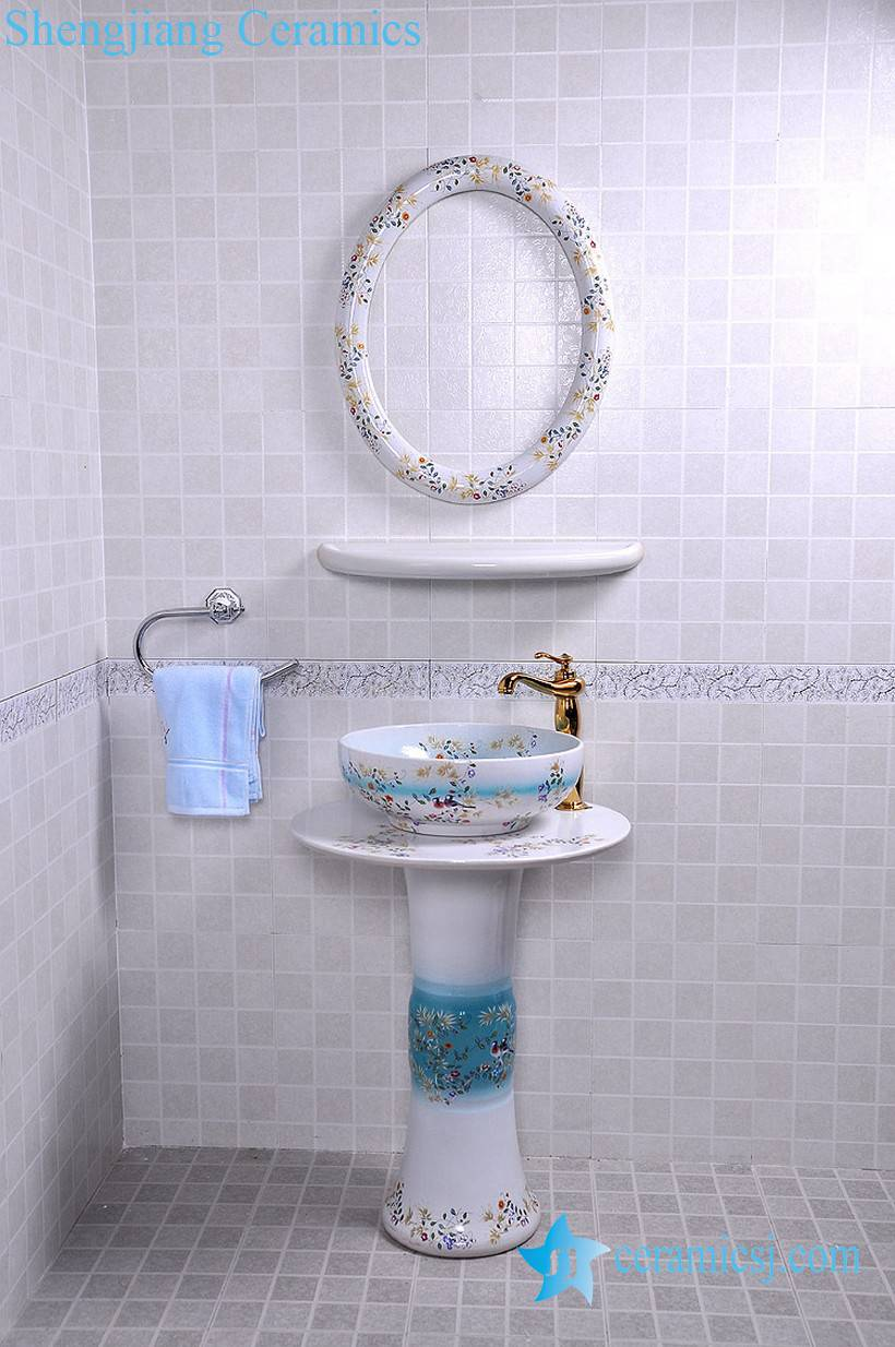 YL-TZ-0088 YL-TZ-0088 High quality ceramic bird flower branch pattern white pedestal foot porcelain round sink basin bowl with mirror frame, dresser - shengjiang  ceramic  factory   porcelain art hand basin wash sink