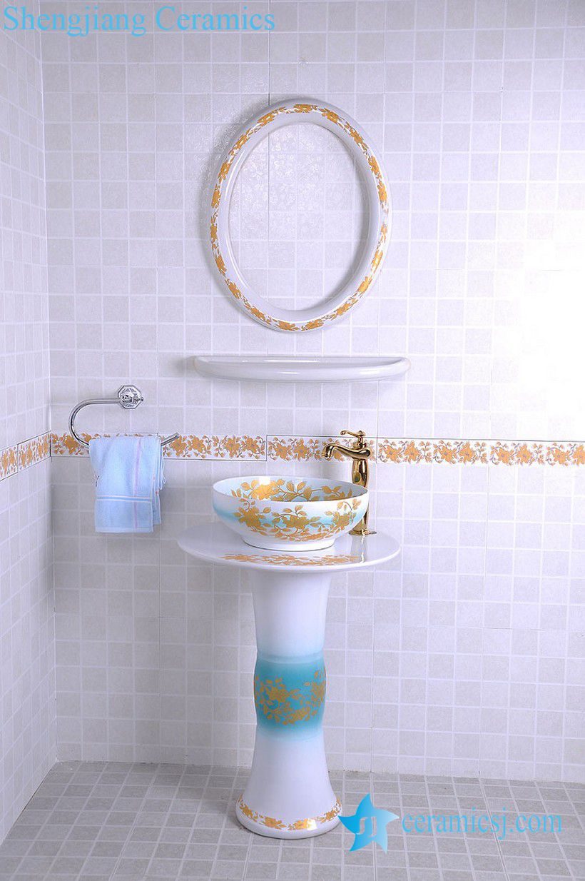 YL-TZ-0091 YL-TZ-0091 Middle east style golden plated blue luxury contemporary art ceramic pedestal sink basin - shengjiang  ceramic  factory   porcelain art hand basin wash sink