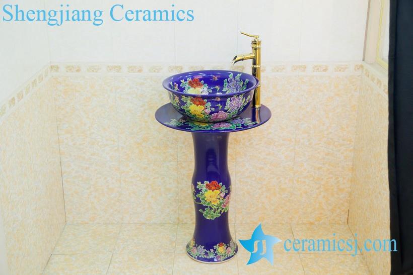 ZY-0001 ZY-0001 Elegant blue ceramic composite bathroom sink with pedestal foot - shengjiang  ceramic  factory   porcelain art hand basin wash sink