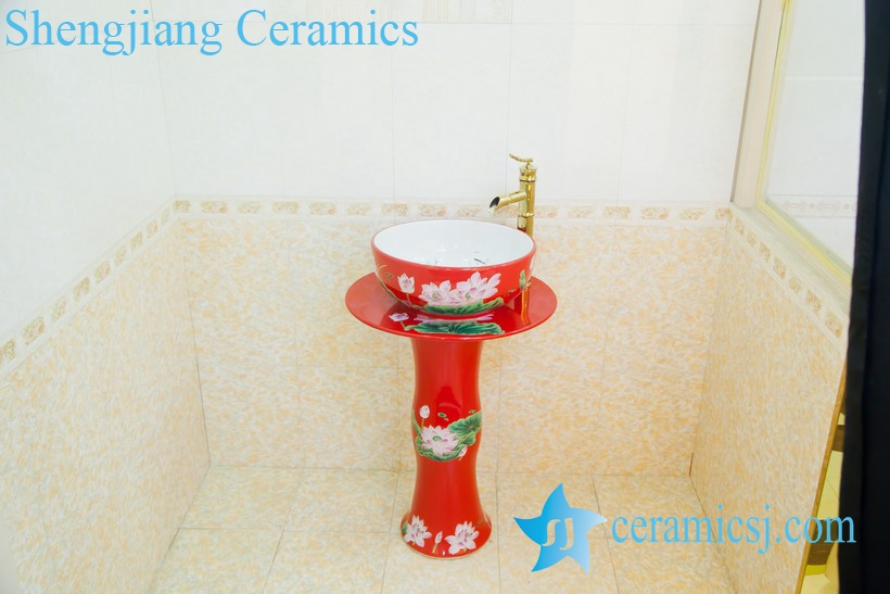 ZY-0002 ZY-0002 High quality middle east style ceramic red lotus flower pattern pedestal foot porcelain round sink basin bowl - shengjiang  ceramic  factory   porcelain art hand basin wash sink