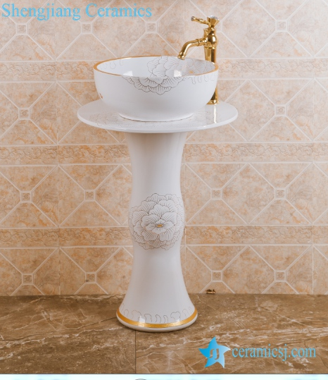 ZY-0005 ZY-0005 Nordic style golden flower plated vitreous china contemporary art ceramic pedestal round sink basin bowl - shengjiang  ceramic  factory   porcelain art hand basin wash sink