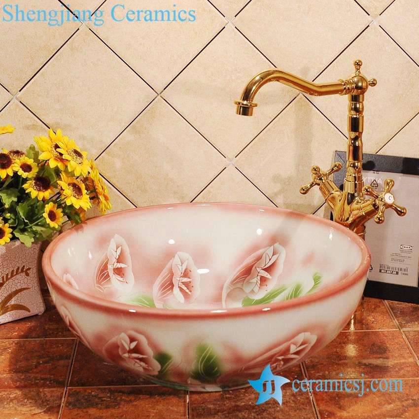 ZY-0007 ZY-0007 Trumpet flower design pink ceramic drip sink - shengjiang  ceramic  factory   porcelain art hand basin wash sink