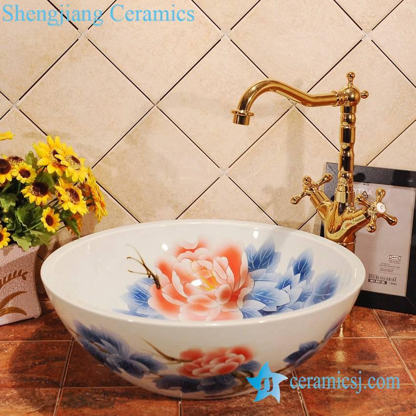 ZY-0008 ZY-0008 Peony flower pattern blue and white ceramic bath sink - shengjiang  ceramic  factory   porcelain art hand basin wash sink