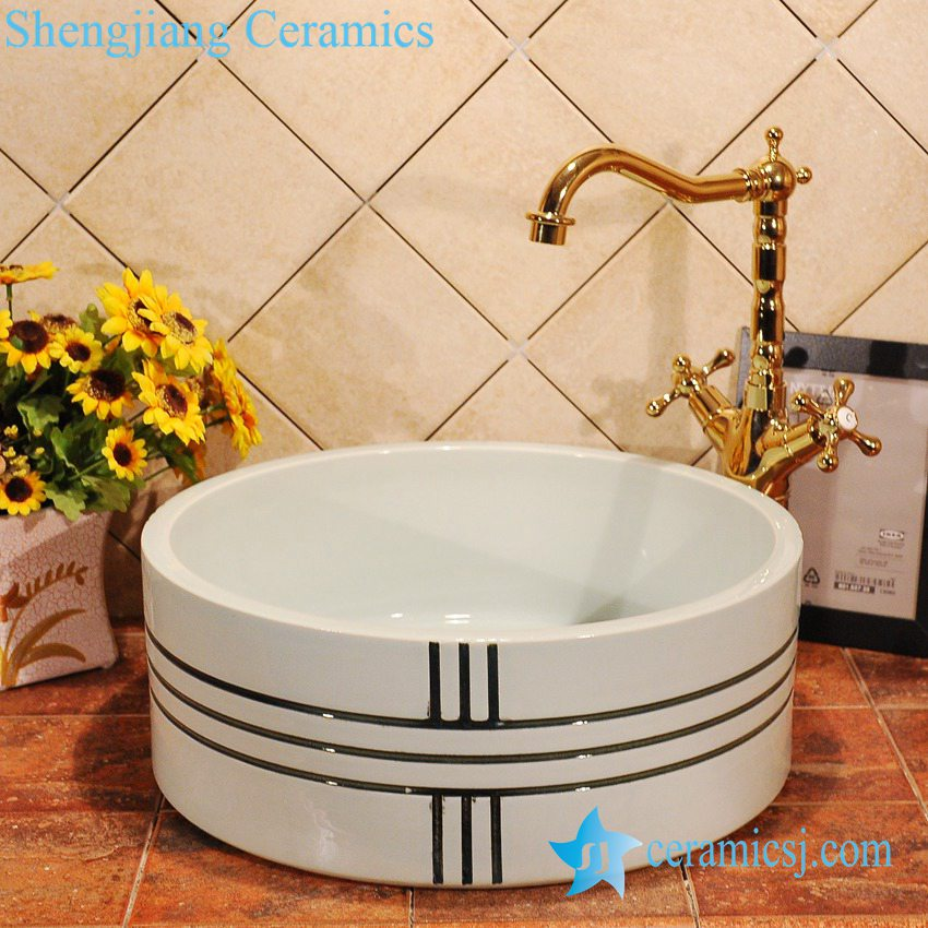 ZY-0010 ZY-0010 Modern type solid color ceramic bucket and sink - shengjiang  ceramic  factory   porcelain art hand basin wash sink