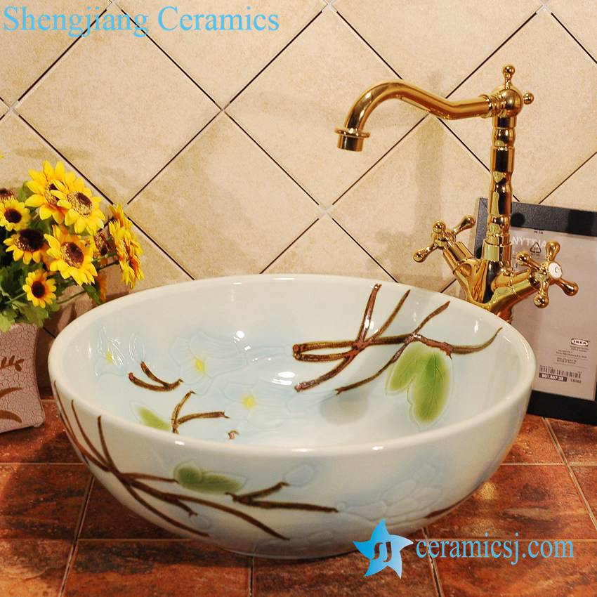 ZY-0011 ZY-0011 Hand carving Lily flower light blue ceramic bathroom sink bowl - shengjiang  ceramic  factory   porcelain art hand basin wash sink
