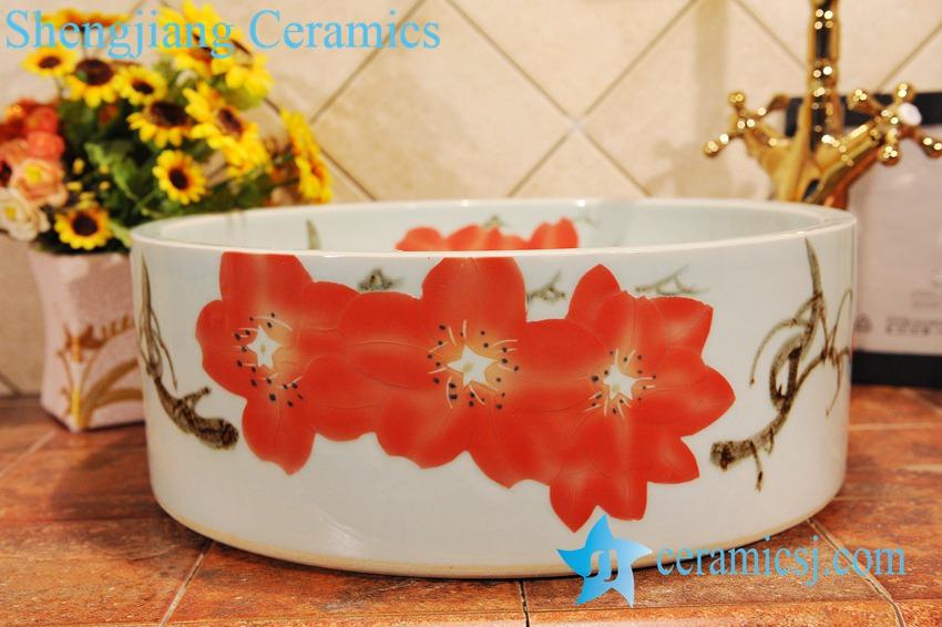ZY-0014 ZY-0014 Azalea flower design fancy hair wash basin - shengjiang  ceramic  factory   porcelain art hand basin wash sink