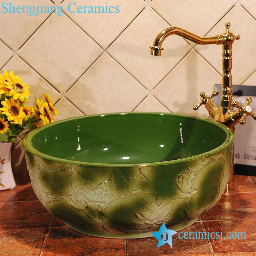 ZY-0017 ZY-0017 Hand carving lotus flower green ceramic household sink basin - shengjiang  ceramic  factory   porcelain art hand basin wash sink