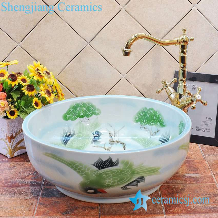 ZY-0018 ZY-0018 Small ceramic bathroom sink for cabinet - shengjiang  ceramic  factory   porcelain art hand basin wash sink