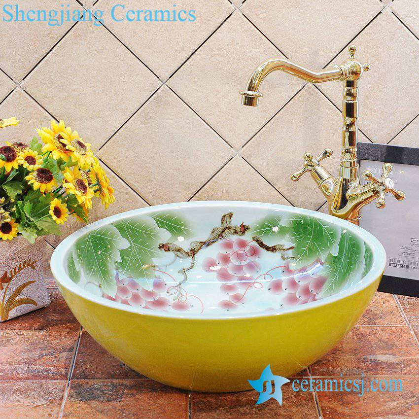 ZY-0019 ZY-0019 Grape pattern yellow outside wall bathroom ceramic wash hand rinse - shengjiang  ceramic  factory   porcelain art hand basin wash sink