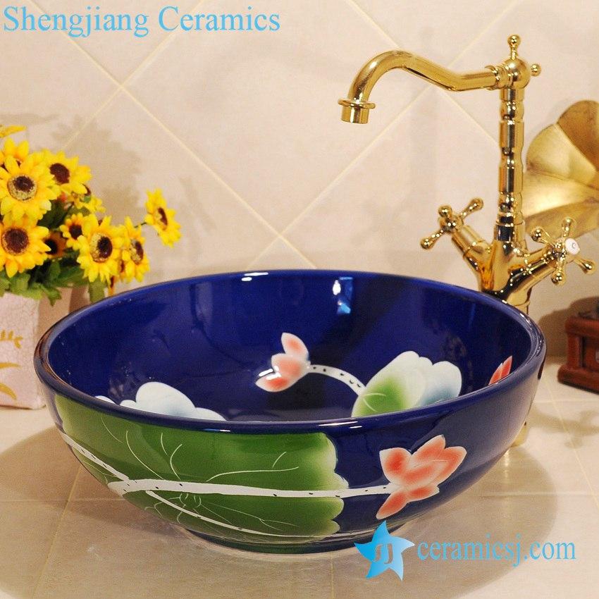 ZY-0025 ZY-0025 Craig blue ceramic bathroom sanitary sets - shengjiang  ceramic  factory   porcelain art hand basin wash sink
