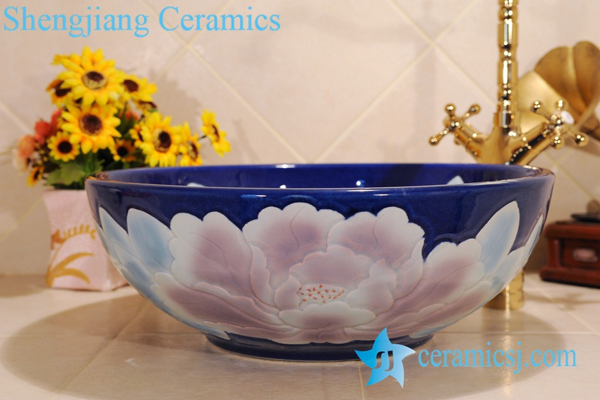 ZY-0026 ZY-0026 Fair price china lavatory ceramic material peony flower type - shengjiang  ceramic  factory   porcelain art hand basin wash sink