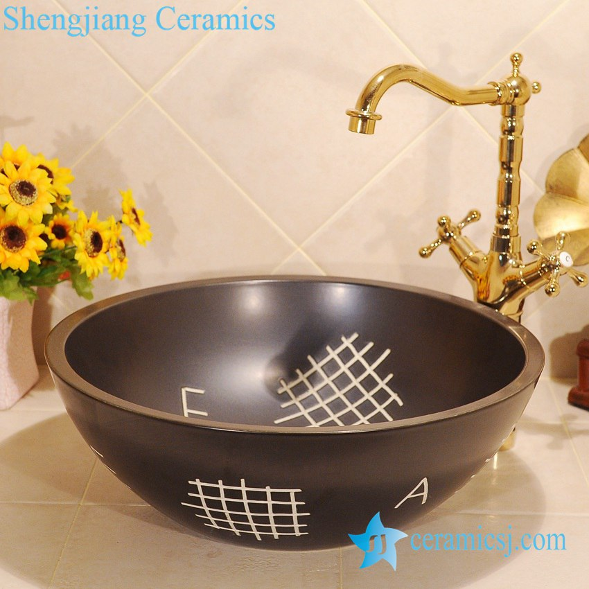 ZY-0031 ZY-0031 Black hand carving round solid color unique corner sink - shengjiang  ceramic  factory   porcelain art hand basin wash sink
