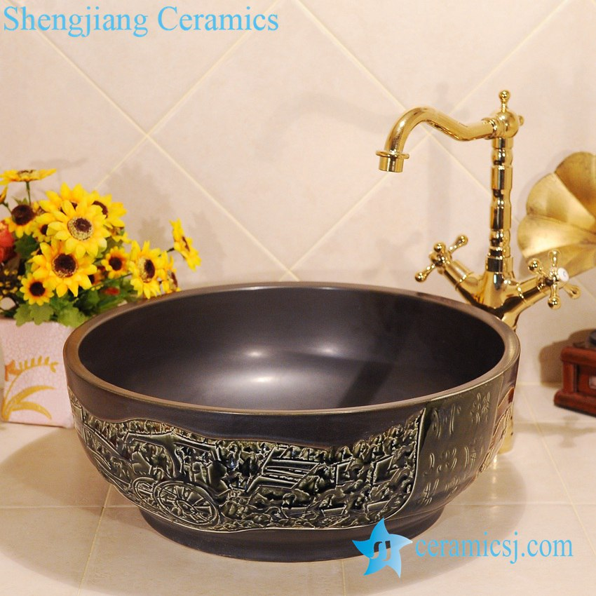 ZY-0035-1 ZY-0035 Black solid color hand carving round ceramic sanitary ware china - shengjiang  ceramic  factory   porcelain art hand basin wash sink