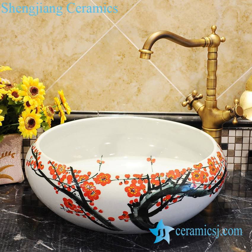ZY-0038 ZY-0038 Plum blossom pattern white big round ceramic wash basin - shengjiang  ceramic  factory   porcelain art hand basin wash sink